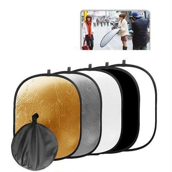 【送料無料!】撮影用 レフ板(リフレクター) 折り畳み 150cm 5INタイプ【新品】