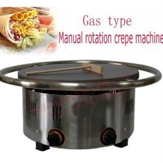 【送料無料!】ガスタイプ缶回転クレープ機クレープメーカー450ミリメートルプレート【新品】