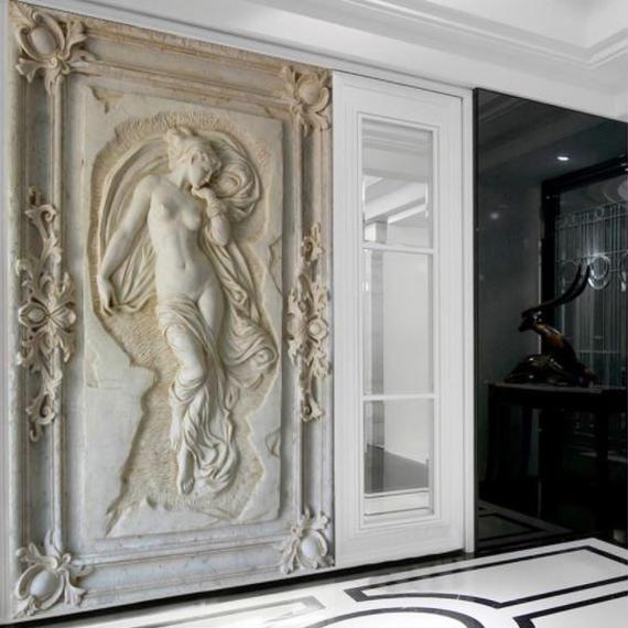 【送料無料!】3Dアートレリーフ壁紙 天使ヌード像 壁画壁紙 ヨーロッパスタイル 廊下 壁紙【新品】