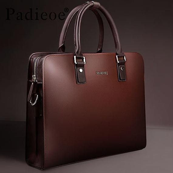 【送料無料!】Y-bag PADIEOEフィットメンズビジネスバッグ 13インチPC 牛床革 カーキ 【新品】
