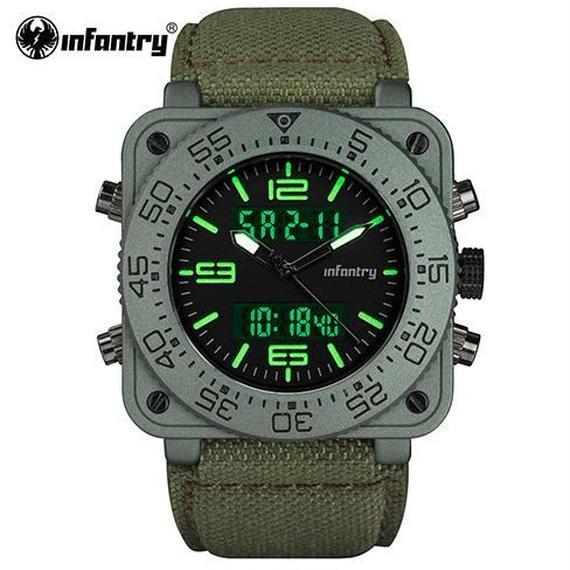 【送料無料】Infantry メンズ クォーツ腕時計 ミリタリー アーミー 防水 日付 led 【新品】