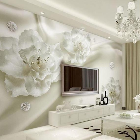 【送料無料!】3D壁紙 シルクフラワー 400センチ(w) × 250センチ(h) ヨーロッパスタイル テレビ背景 リビングルーム【新品】