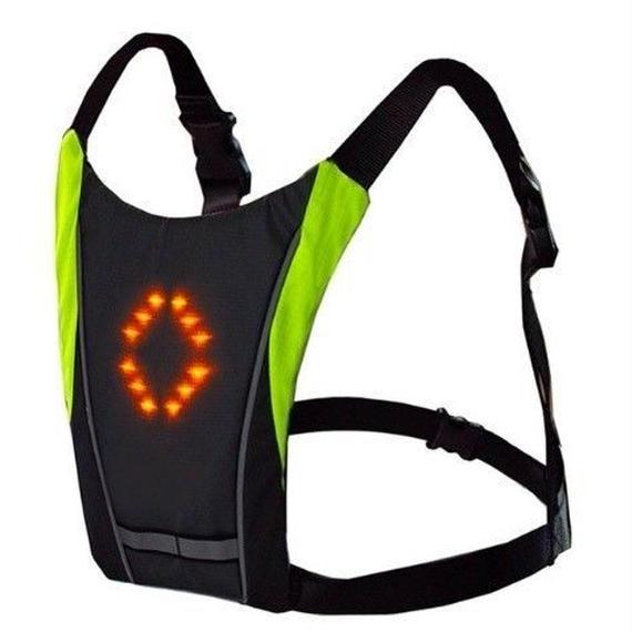 【送料無料】自転車用 方向指示ライト LED ベスト リュック バックパック ターン信号光反射ベスト安全 防犯 安全警告 ロード 【新品】