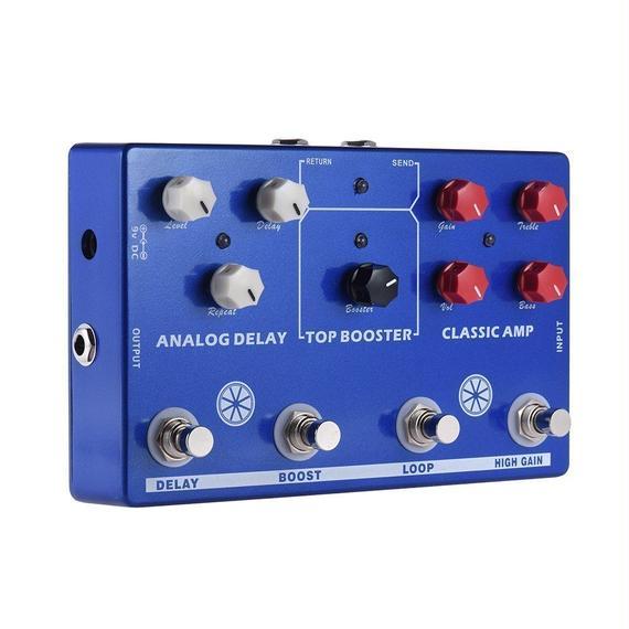 【送料無料!】ammoon マルチエフェクト 4-in-1 ギタートーン エフェクトペダルプロセッサー クラシック AMPブースター FXループEQ【新品】