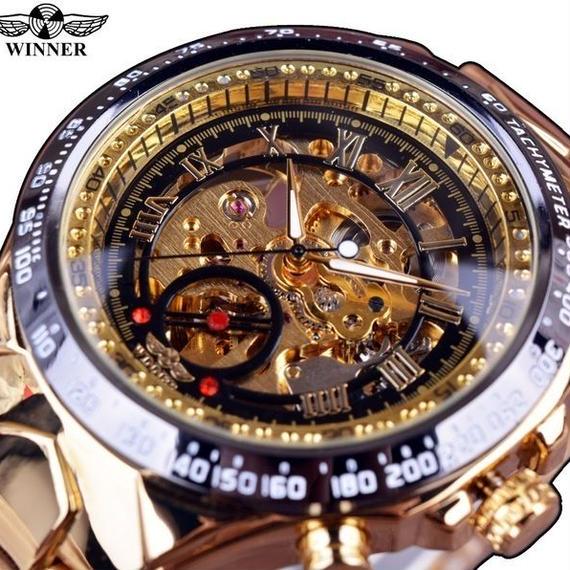 高級デザイン ゴールデン メンズ腕時計 トップブランド 自動 スケルトン 海外インポートブランド 機械式