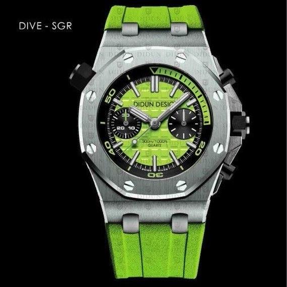 【送料無料】DIDUN メンズ クォーツ腕時計 高級 クロノグラフ ダイバー SGR【新品】