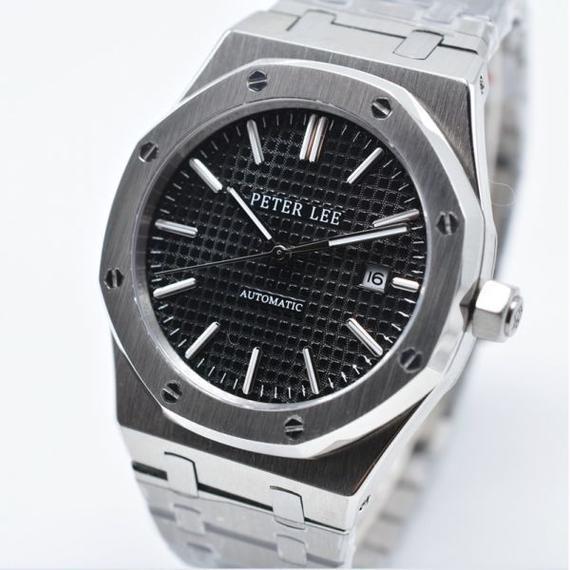 【送料無料!】Peter lee 自動巻き 機械式腕時計 メンズ 40mm ステンレス ブラック 2122【新品】