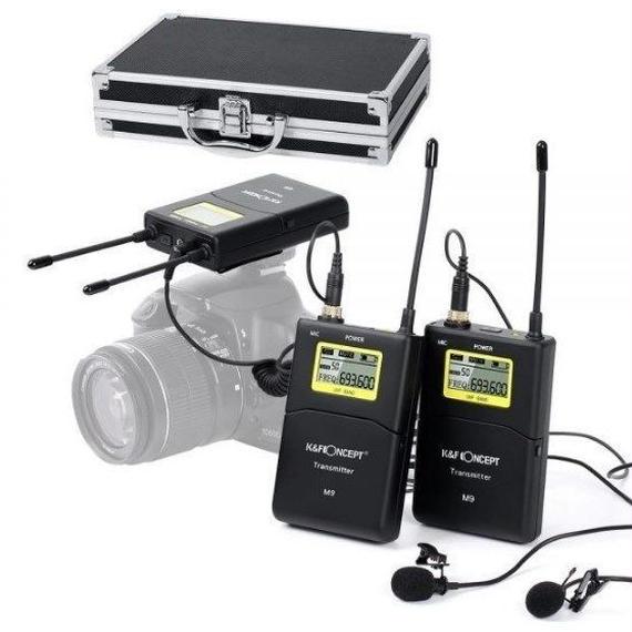 【送料無料!】K&FコンセプトM9 100チャンネルUHF ワイヤレスマイクシステム キャノンニコンソニーカメラビデオカメラ 3.5mm【新品】