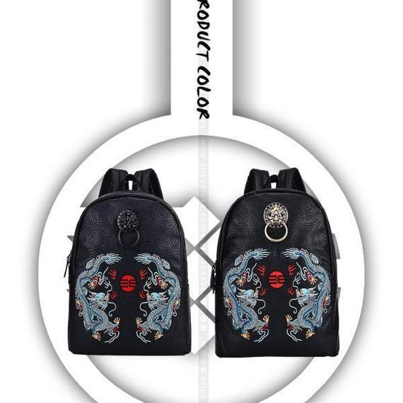 【送料無料!】中国スタイルの有名なブランドの男性のバックパックのバッグの刺繍ドラゴン高級レディースの女性のためのバッグバッグ【新品】
