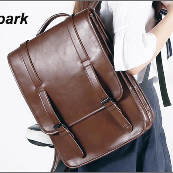 【送料無料!】dpark メンズ リュック・デイバッグ 15.6インチPC 合成皮革 茶【新品】