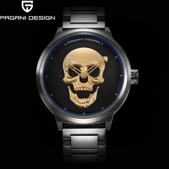 【送料無料!】海外ブランド 高級 クォーツ 腕時計 人気のスカル メンズ 防水 ブラック・ゴールド・シルバー メタルバンド【新品】