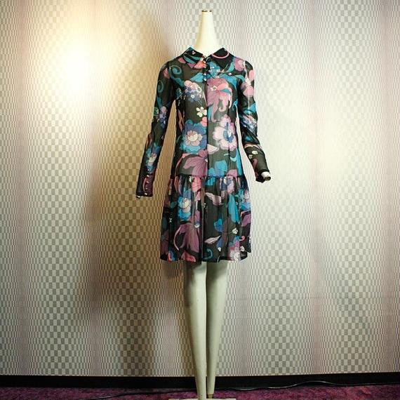 Retro Flower Pattern Dress(MADE IN NYC)