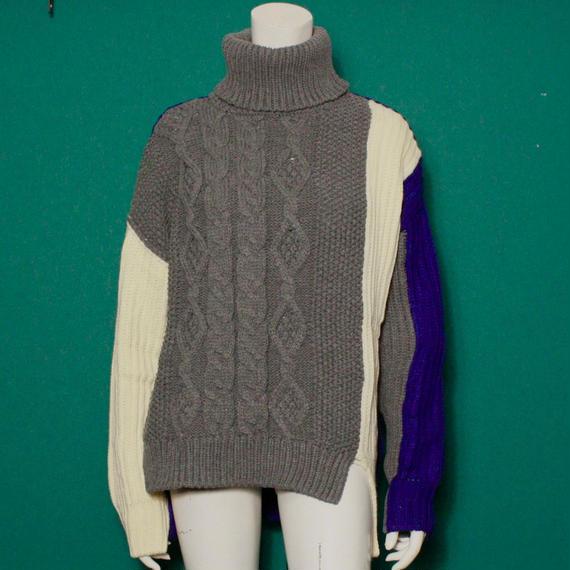 【migration】Turtleneck bi-color knit sweater / Blue