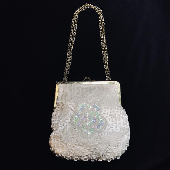 Flower motif white beads hand bag / フラワーモチーフ白ハンドバッグ