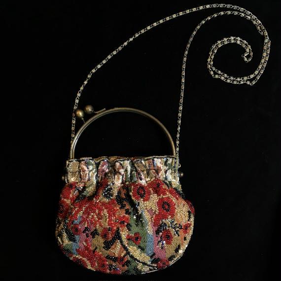 Flower pattern beads shoulder mini bag  / 花柄がま口ビーズショルダーミニバッグ