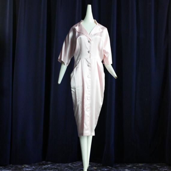 1980's Vintage 【Wild Dream】Pink Satin Onepiece
