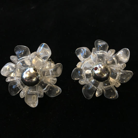 Vintage clear flower Earrings / クリアフラワーイヤリング