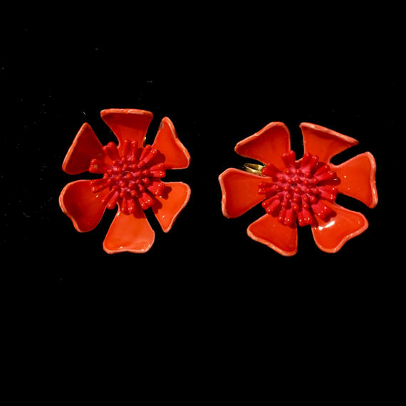 【Vintage】Red flower Earrings/ フラワーイヤリング