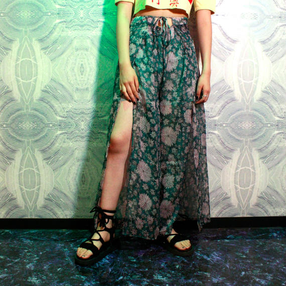 【migration】Flower Chiffon Pants / GREEN