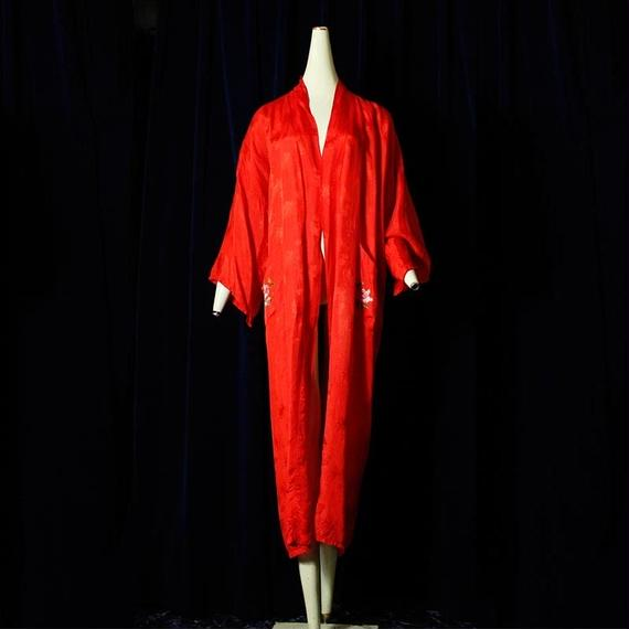 1960's Vintage China Red Gown