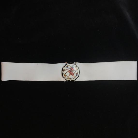 Vintage white unicorn design belt / ユニコーンデザイン白ゴムベルト