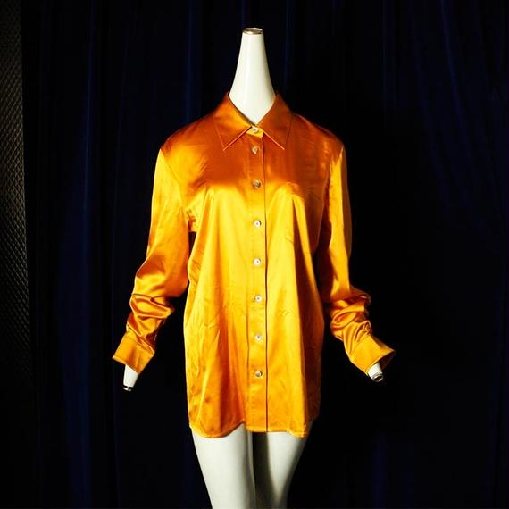 【DKNY】Shiny Orange Silk Shirt