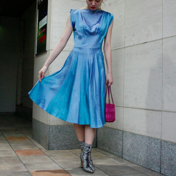 【Vintage】1950's  Blue satin dress / ブルーサテンドレス