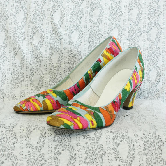 1970's Vintage【Town & Country】 Flower Heel