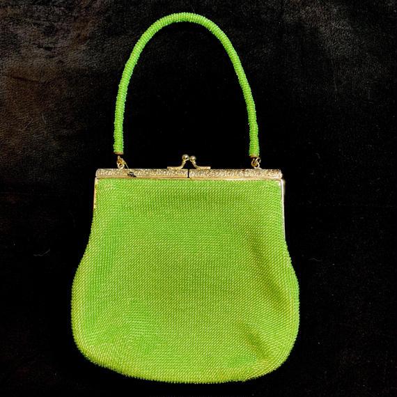 Vintage green beads hand bag / グリーンビーズハンドバッグ