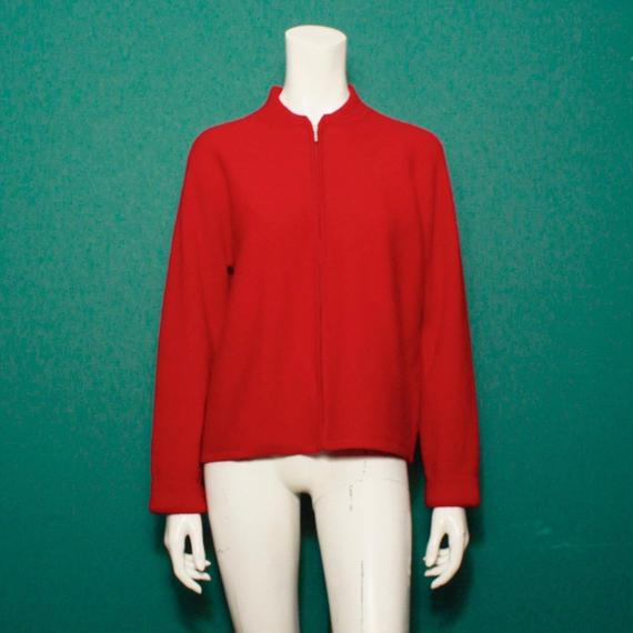 Zip up wool knit cardigan / ウールニットカーディガン