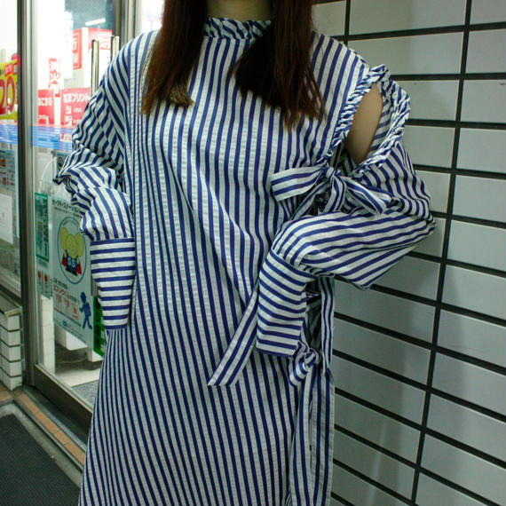 【AHCAHCUM/あちゃちゅむ】ストライプ 2WAY OP / blue