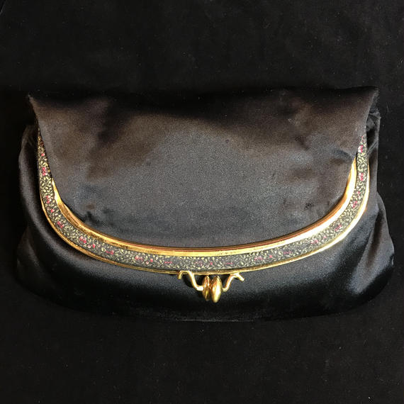 1950's Vintage clutch satin bag / がま口クラッチサテンバッグ