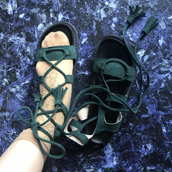 Lace up Sandals <green>