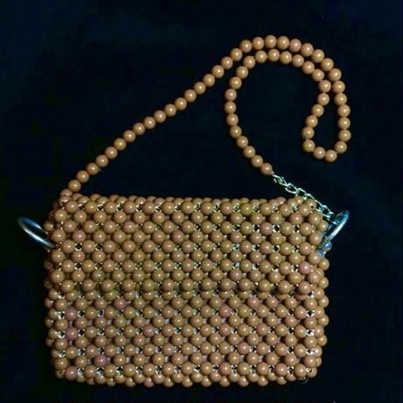 Braided brown beads shoulder bag / 編みビーズショルダーバッグ