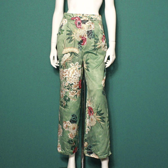 【migration】Flower green pants  / mg-142 / 花柄グリーンパンツ