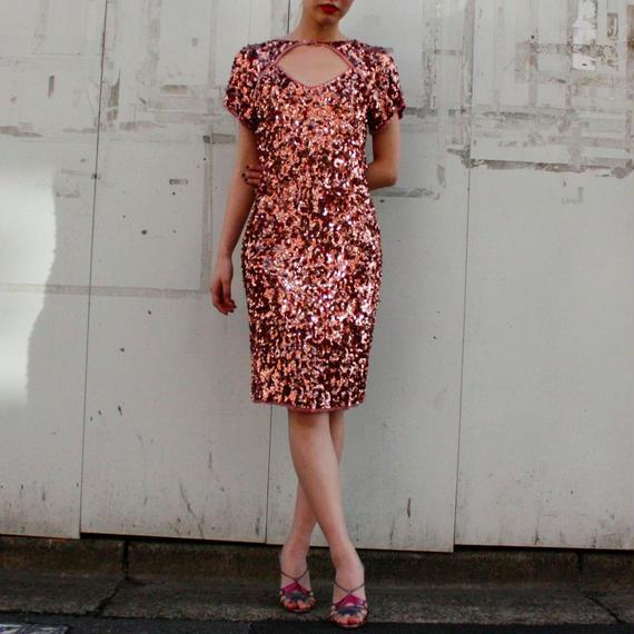 Pink gold Spangles dress / スパンコールドレス