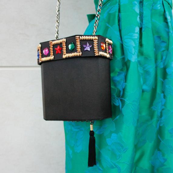 Bijyou shoulder bag box / ビジュー付きボックスバッグ