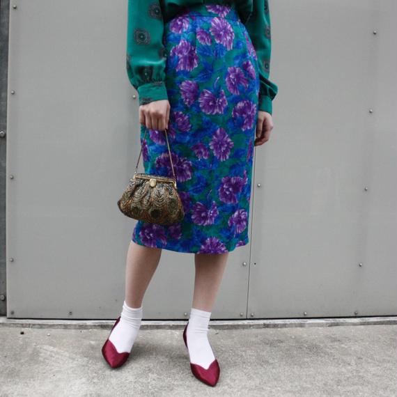 Flower design silk skirt / 花柄シルクペンシルスカート