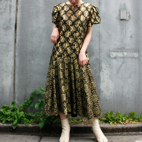 【Vintage】HW Collection 1980's  gold spangle dress / ゴールドスパンコール付きドレス