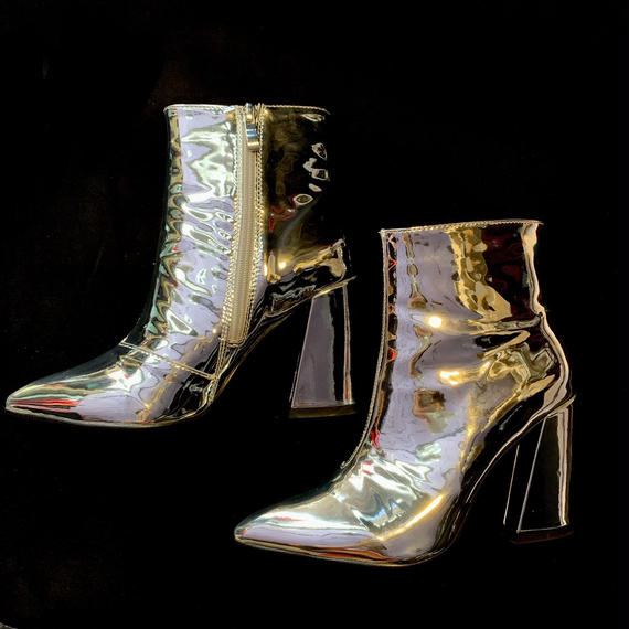 【migration】Metallic silver heel boots / mg187 / メタリックシルバーヒールブーツ