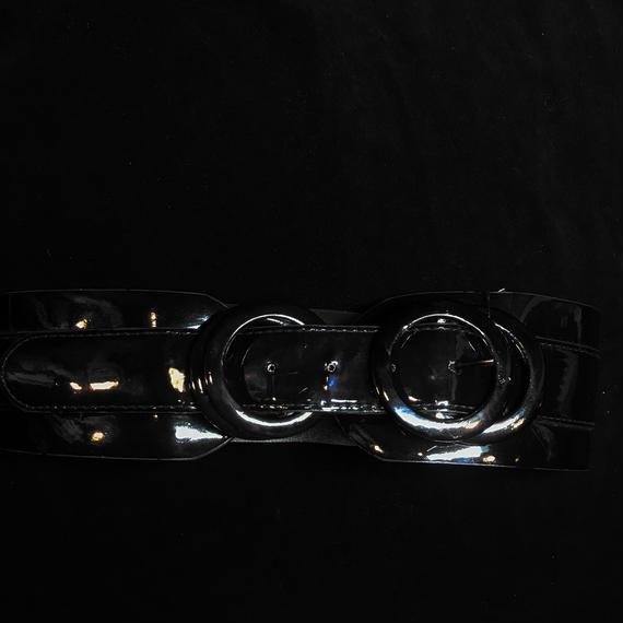 Vintage black enamel two rings belt / エナメル太ベルト