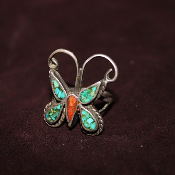 1970's Vintage Turquoise Butterfly Silver Ring