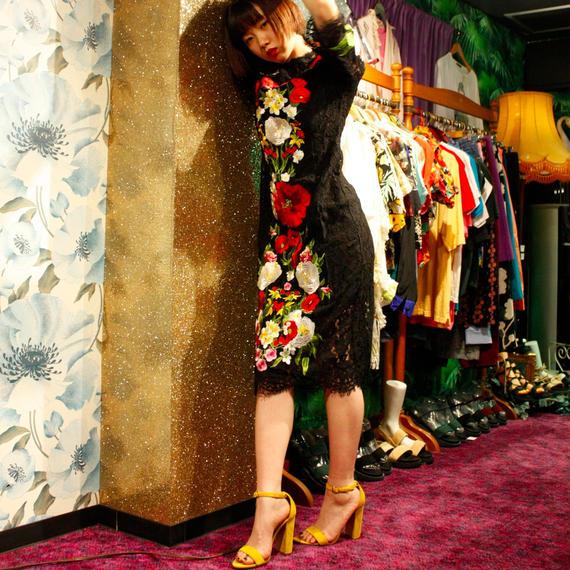 お花刺繍レースドレス/black