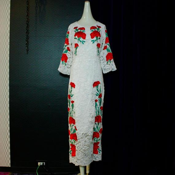 薔薇刺繍レースロングドレス/white