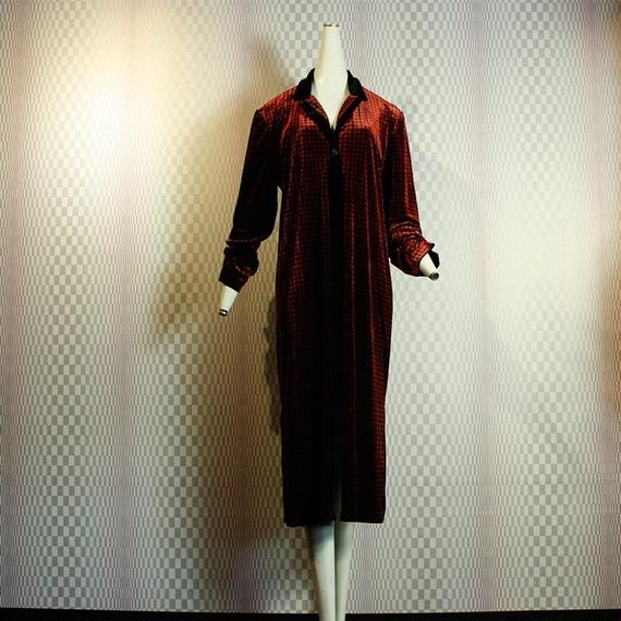 【Coldwater Creek】Velvet Houndstooth Check Gown