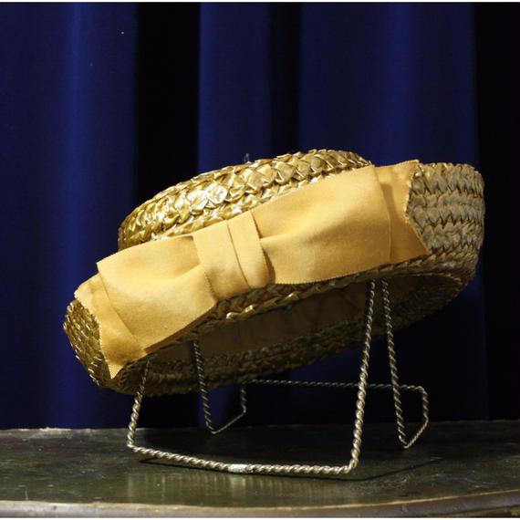 1950's Vintage Yellow Ribon Straw Hat