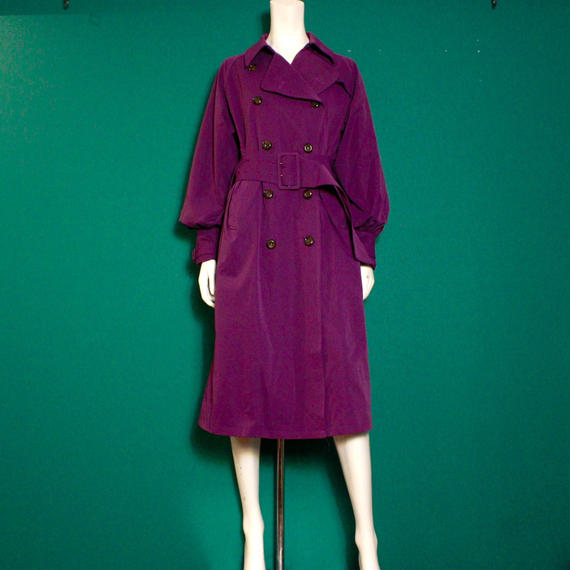 【migration】Purple puff sleeve trench coat