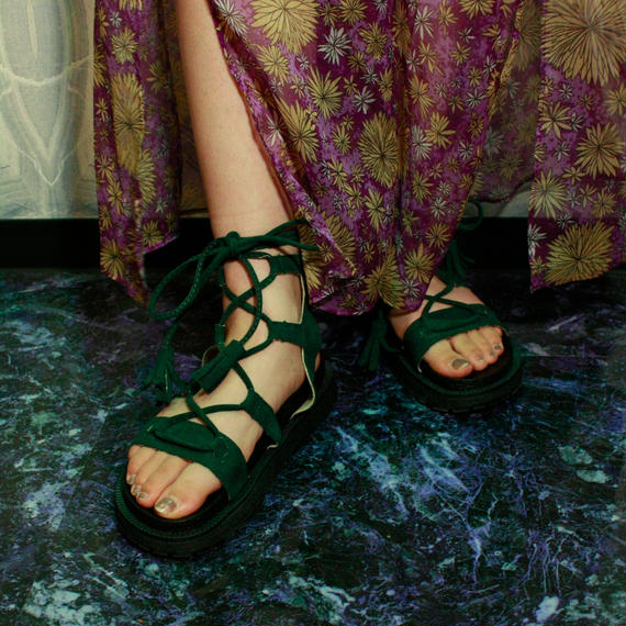 【Selected item】Lace up Sandals / green