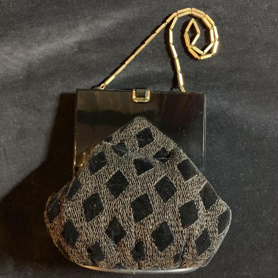 Vintage black design bag /ROSSINI made in Italy / デザインバッグ