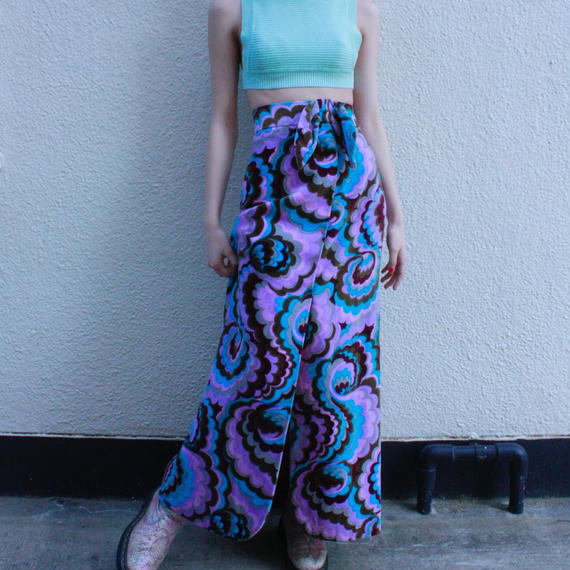 Vintage Psychedelic flower patten long skirt / サイケデリック花柄ロングスカート